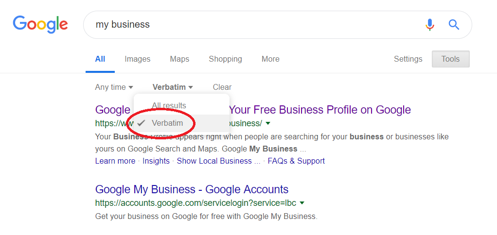 how to do a verbatim search on Google