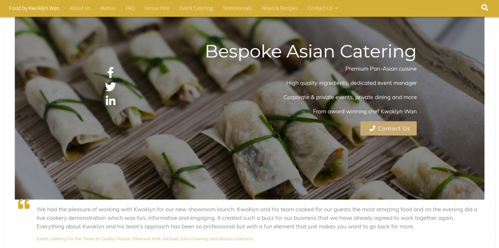 Eastern Heroes catering website home page by Thirst Media